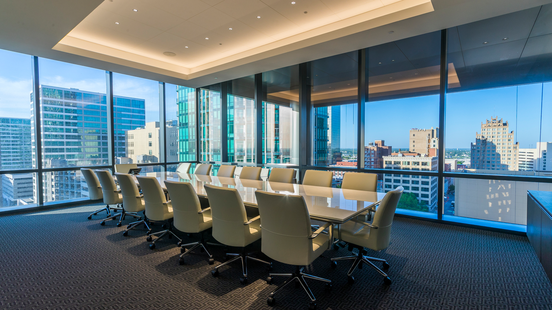 Marble Boardroom in the PalmWood Event and Conference Center | Best Venues in Fort Worth | Event Venue Fort Worth | High Rise Event Space | Downtown Conference Venue